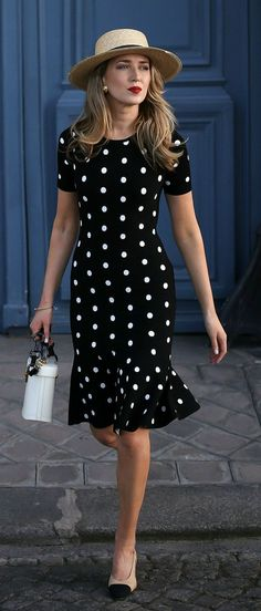 30 Dresses in 30 Days | Day 8: Dining Al Fresco // Black and white polka dot fit and flare knit dress, Chanel slingbacks, Mark Cross Benchley Bag, Janessa Leone Straw bolero hat, Vintage Chanel Earrings {Milly, Chanel, Mark Cross, Janessa Leone, polka dot