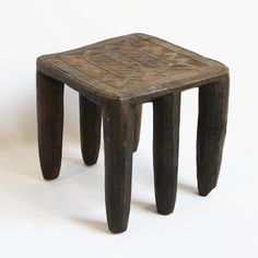 Original Nupe Chief stool from Nigeria.  Hand carved tribal geometric design with name
