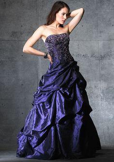 Desirable Purple Beads Working Taffeta Ball Gown Floor Length Prom Dress