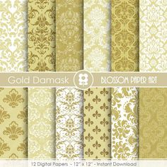 Damask Digital Paper, Gold Digital Paper Wedding Scrapbook Paper Pack, Scrapbooking - INSTANT DOWNLOAD  - 1756