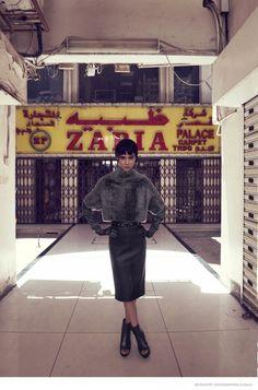 """Mercury Rising"" Tao Okamoto in Brunello Cucinelli shrung for Bergdorf Goodman's Fall 2014"