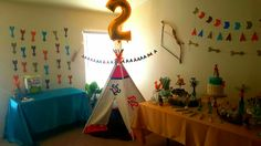 Tribal Party, Indians, teepees , arrows, cactus and succulents.