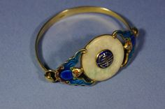 Chinese antique enameled silver bracelet