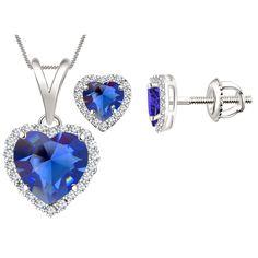 Sapphire & Sim Diamond Halo Heart Pendant & Earrings Set In 14K White Gold Over #Diamondetc #Halo #ValentinesDay