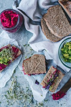 whole wheat beet hummus sandwich