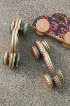 little wobbly cars made from recycled skateboards