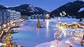 View of Ice Skating Pond with Christmas Lights in Keystone Village