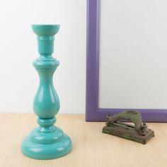 Candelero de madera en aguamarina | Antic&Chic