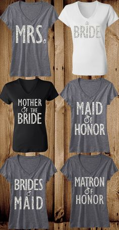 Have the whole #BridalParty looking great! Bridal #Wedding Glitter Shirts offered in a 6 pack bundle to fit the #Bride  Entourage. Only $127.95 on Etsy. Mix and Match from the designs shown! Click here to buy https://www.etsy.com/listing/178179527/bridal-wedding-6-shirts-15-off-bundle?ref=shop_home_active_8