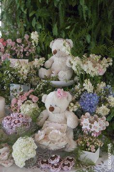 festa dos ursos, arranjos de flores, mesa de doces, baby shower, chá de bebê de menina, girls, cute, romantic