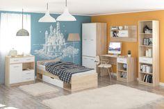 Kolekciu nábytku OLINO ponúkame do študentskej izby. Svojou farebnou kombináciou dub sonoma a biela prevzdušní a zjemní izbu. Posteľ má úložný priestor. #byvanie #domov #nabytok #postel #postele #jednolozka #detskapostel #modernynabytok #designfurniture #furniture #nabytokabyvanie #nabytokshop #nabytokainterier #byvaniesnov #byvajsnami #domovvashozivota #dizajn #interier #inspiracia #living #design #interiordesign #inšpirácia Furniture Sets, Divider, Entryway, Home Decor, Google, Entrance, Decoration Home, Room Decor, Door Entry