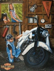 Harley Davidson Curious Kids Tin Sign - Ande Rooney Harley Davidson Embossed Tin Sign Collection utilizes lithographed on tin process, this makes for a more detailed and inticate sign. The result is a