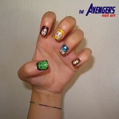 Still can't get enough of The Avengers? How about Avengers nail polish to remind you every time you look at your hands? Marvel Nails, Avengers Nails, Comic Nail Art, Dc Comics, Nail Garden, Colorful Nail Art, Funky Nails, Best Nail Art Designs, Nail Envy