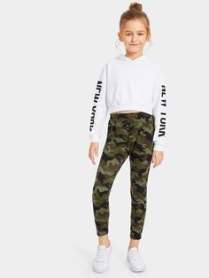 Girls Elastic Waist Camo Leggings -SHEIN(SHEINSIDE) The clothing culture is fairly old. Girls Fashion Clothes, Teenage Girl Outfits, Cute Outfits For School, Cute Girl Outfits, Kids Outfits Girls, Cute Casual Outfits, Tween Fashion, Cute Clothes For Kids, Kids Clothing Girls