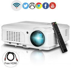 Wifi Projector 1080p Support,EUG LCD LED 3200 Lumen Home Cinema Projectors Android HDMI USB for Party Outdoor Movie Artwork Projection,Wireless for iPad iPhone 1280x800. ➤Easy wireless connection for your smartphone,tablet or laptop, the projector is built in Android, support WiFi connection, able to project everything in your phone without cables through Miracast or Airplay, pre installed Netflix, Kodi and Google Play, you can enjoy the multi-screen interactive experience and watch…