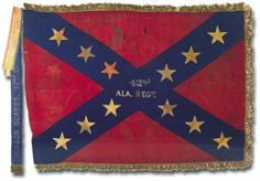 Battle Flag of the 42nd Alabama Regt. The Alabama 42nd Infantry Regiment was organized and mustered into the Confederate service at Columbus, Mississippi on May 16, 1862. It surrendered at Vicksburg, Mississippi on July 4, 1863 and was paroled there later in the month. This regiment was composed mainly of men who re-organized in two or three instances as entire companies, after serving a year as the Second Alabama Infantry. After parole camp it served until it's last battle at Bentonville.