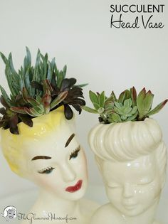 Planting succulents in vintage head vases is the perfect way to add a little spring into your home. Click through for instructions and more vintage head vase eye candy!