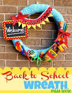 Miss Lovie: Back to School Wreath- get straw wreath form and wrap fabric strips around it.