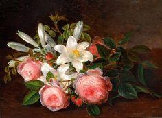 Johan Laurentz Jensen (1800-1856): Roses and lilies