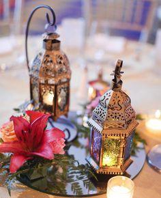 Copper Is the Next Wedding Color Trend Vintage Wedding Centerpieces, Lantern Centerpiece Wedding, Wedding Lanterns, Table Centerpieces, Centerpiece Ideas, Steampunk Centerpiece, Centerpiece Flowers, Centrepieces, Moroccan Theme