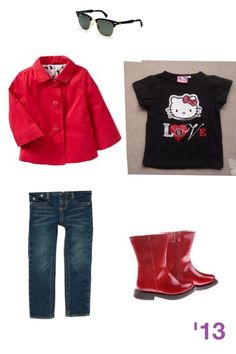 Adorable fashionable outfit for a toddler girl! Red jacket, matching red leather boots, jeans, kiddy ray bans and hello kitty top! #stylish #trendy #cute #combo