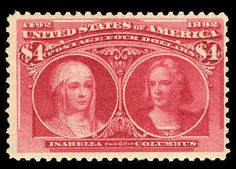 United States 1893 Columbus Issue 1893 $4 crimson lake, beautiful color, centered slightly to right, n.h. and post office fresh, fine, with 1979 PFC and 2004 PSE cert., (Cata...