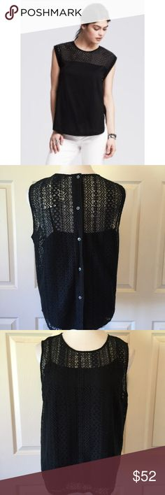 """BANANA REPUBLIC BLACK EYELET YOKE TOP Stunning Banana Republic eyelet yoke black top. NWT. Attached camisole, button down back. Fabric: 70% cotton, 30% nylon. Size Large: 41"""" bust, 22"""" length. For more Banana Republic beauties, please visit our beautiful friend Molinda @molinda25 closet. No trades and a smoke free home. We are a tag away if we can be of help. 💕🌷💕 Banana Republic Tops"""