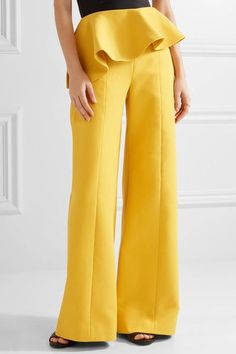 Rosie Assoulin - Bearded Iris Peplum Cotton-twill Wide-leg Pants - Marigold - US2