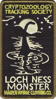 It's your favorite creature from Scotland, Nessy! Immortalized in the moonlight on this sew on Maiden Voyage patch. Cryptozoology Tracking Society patches are reminiscent of the old fashioned National Cool Patches, Pin And Patches, Iron On Patches, Loch Ness Monster, Retro Tattoos, Mystique, Patch Design, Weird Creatures, Sea Monsters