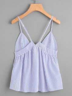 Camisole creuse à rayures en dentelle -French Romwe