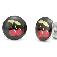 R&B Joyas - Pendientes unisex para mujer y hombre, pendientes de botón urbano estilo Pacha Club, cerezas, acero inoxidable, color plateado / negro / rojo / verde: Amazon.es: Joyería