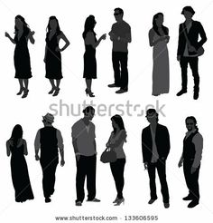 People speaking at party silhouette - stock vector
