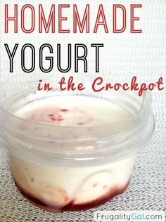 Frugal Experiment: Homemade Crockpot Yogurt. Includes cost breakdown and cost comparison to store bought yogurt.