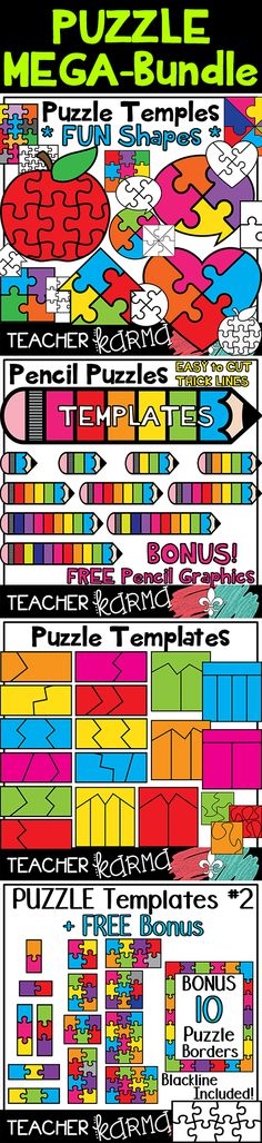 Make your own classroom games.  Puzzle Templates MEGA-BUNDLE with 159 graphics!  TeacherKARMA.com
