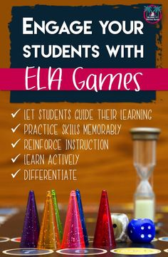 Get students excited about learning with these educational games for the ela classroom. Teaching Grammar, Teaching Reading, Teaching Tools, Teaching English, Teacher Resources, Creative Teaching, Ela Classroom, English Classroom, Ela Games