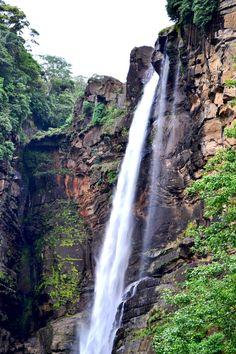 Laxapana water fall Central Province Sri Lanka.  It's formed by Maskeliya Oya near the confluence of Kehelgamu Oya and Maskeliya Oya which forms Kelani River.It is 126m high and the 8th highest waterfall in Sri Lanka and 625th highest waterfall in the world.