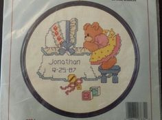Dimensions Stitchabears Lucy Counted Cross Stitch Kit Sleeping Baby Birth Record #Dimensions #CountedCrossStitchKit