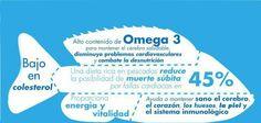 El pescado tiene un alto contenido en omega 3, una dieta rica en pescado mejora nuesttra salud.