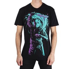 "Electric Zombie Celebrates ""Friday the with New Merchandise Power Glove, Jason Voorhees, Clothing Company, Shirt Designs, Celebrities, My Style, Mens Tops, T Shirt, Clothes"