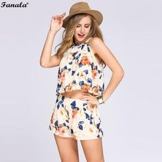 FANALA Women Suit 2017 Two Piece Set Halter Sleeveless Floral Print Crop Top Elastic High Waist Shorts For Women Suits Sets#20