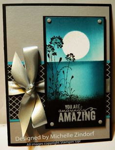 Amazing Moon Stampin' Up! Card created by Michelle Zindorf - (Pin Background: Masks/ Sponging. Friendship Cards, Stamping Up Cards, Card Making Techniques, Card Tutorials, Watercolor Cards, Sympathy Cards, Copics, Flower Cards, Cute Cards