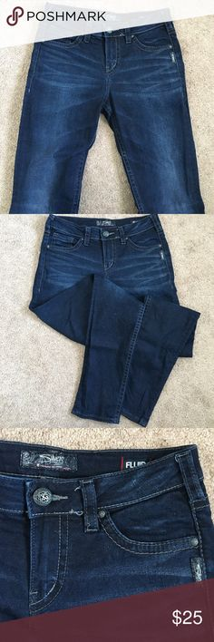 Silver Suki Jeans Silver dark wash straight leg Suki jeans. Light wash distress around knees and thighs. W29, L31. Like new! Silver Jeans Jeans Straight Leg
