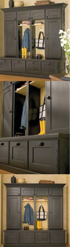 Entryway Boot Bench and #Mudroom Lockers wtih Black Painted ...