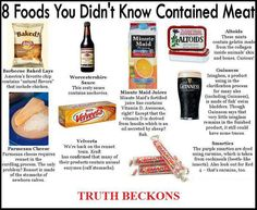 8 foods you did not know contained MEAT!! I knew all of them but parm cheese...cow stomachs? No thanks.