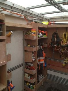 Job Site Trailers, Show Off Your Set Ups! - Page 22 - Tools & Equipment Trailer Shelving, Van Shelving, Trailer Storage, Work Trailer, Trailer Build, Utility Trailer, Van Storage, Tool Storage, Storage Shelves