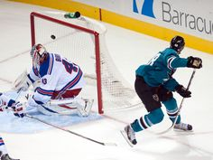 San Jose Sharks rookie forward Tomas Hertl looks back after going between his legs for his fourth goal of the game (Oct. 8, 2013).