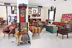 The Bokja Store, furniture re-upolstered with vintage Middle Eastern and Central Asian Textiles.