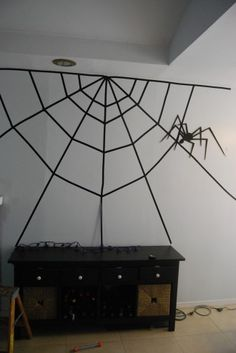 Electrical Tape Spiderweb for Halloween Halloween Scene, Halloween 2014, Holidays Halloween, Spooky Halloween, Halloween Themes, Halloween Crafts, Happy Halloween, Halloween Party, Halloween Decorations