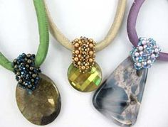 $7 tutorial.  I like this idea of a beaded bail for a glass or stone bead, without a bezel.