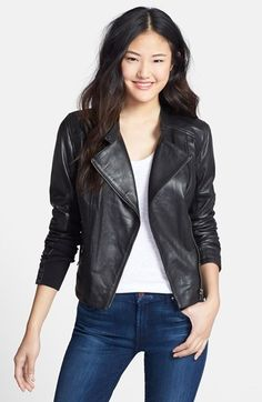 Free shipping and returns on Halogen® Zip Detail Leather Moto Jacket (Regular & Petite) at Nordstrom.com. A moto jacket fashioned from sleek, supple leather is inset with rib-knit panels at the sides and sleeves to perfect the fit and enhance mobility. Channel stitching and burnished-metal zips detail the classic style.
